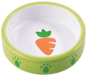КерамикАрт миска керамическая для грызунов, зеленая с морковью