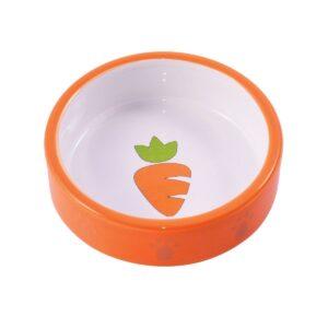 КерамикАрт миска керамическая для грызунов Оранжевая с морковью
