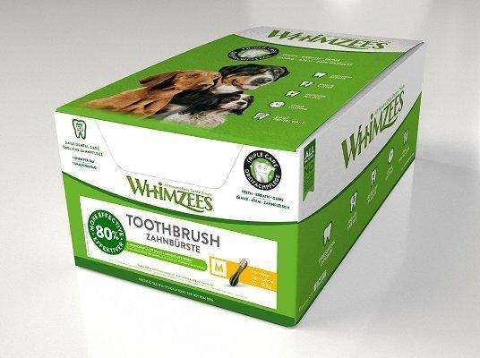 Whimzees дентальное лакомство Зубная щетка для собак М 11 см 75 шт в дисплее