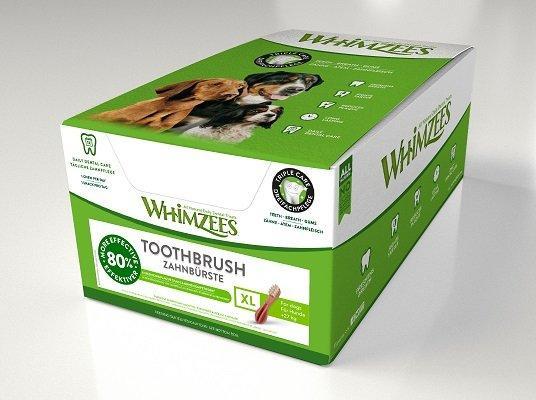 Whimzees дентальное лакомство Зубная щетка для собак XL 19 см 18 шт в дисплее
