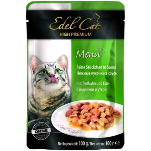 Edel Cat Mit Truthahn und Ente полнорационный влажный корм с индейкой и уткой для кошек всех пород