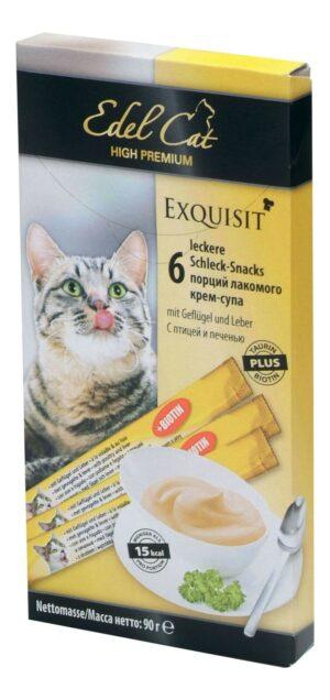Edel Cat лакомство для кошек крем-суп с птицей и печенью, улучшение шерсти