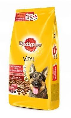 Pedigree сухой корм с говядиной для взрослых собак крупных пород