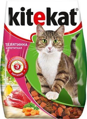 Kitekat сухой корм для взрослых кошек с аппетитной телятинкой