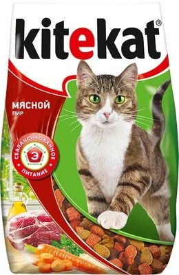 Kitekat сухой корм для взрослых кошек Мясной пир