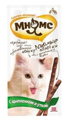 """Лак-во """"Мнямс"""" Лакомые палочки для кошек с цыпленком и уткой"""