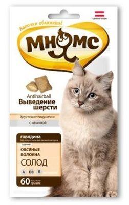 """Лак-во """"Мнямс"""" Хрустящие подушечки для кошек с говядиной"""