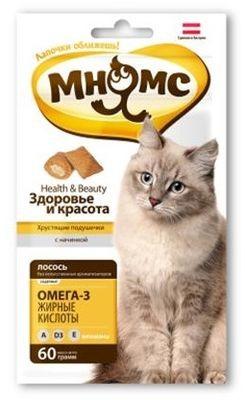 """Лак-во """"Мнямс"""" Хрустящие подушечки для кошек с лососем"""