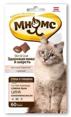 """Лак-во """"Мнямс"""" Хрустящие подушечки для кошек с птицей и говядиной"""