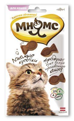 """Лак-во """"Мнямс"""" Лакомые кусочки д/кошек в форме рыбок со вкусом лосося"""