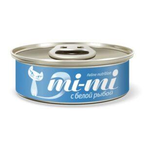 Mi-Mi консервы для кошек и котят с кусочками тунца и белой рыбой в желе
