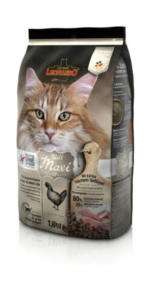 Сухой беззерновой корм Leonardo Adult Maxi GF для взрослых кошек крупных пород с птицей