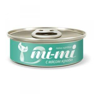 Mi-Mi консервы для кошек и котят кусочки тунца с мясом краба в желе