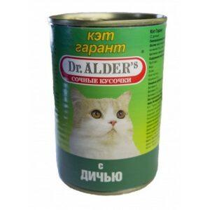 Консервы Dr. Alder's Cat Garant для взрослых кошек с дичью