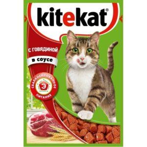 Kitekat корм для кошек в паучах с Говядиной в соусе