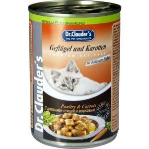 Консервы для кошек Dr. Clauder's кусочки в соусе с домашней птицей с морковью