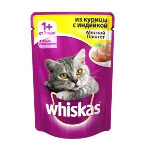 Whiskas паштет с курицей и индейкой для взрослых кошек от 1 года