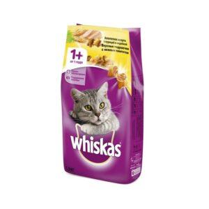 Whiskas сухой корм для взрослых кошек, подушечки с паштетом из курицы и индейки