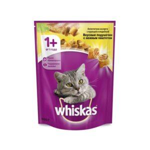 Whiskas сухой корм для взрослых кошек с паштетом из курицы и индейки