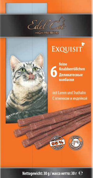 EDEL CAT лакомство для кошек колбаски с ягненком и индейкой