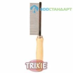 TRIXIE  Расческа д/собак с частым зубом, деревянная ручка
