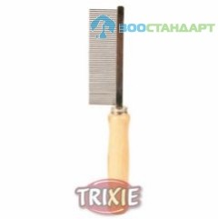 TRIXIE  Расческа д/собак со средним зубом, деревянная ручка