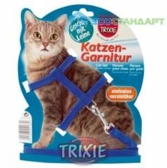 TRIXIE  Шлейка д/кошек однотонная с поводком, нейлон