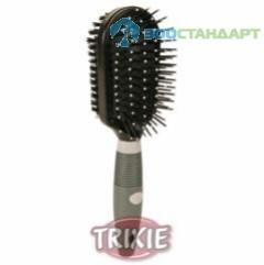 TRIXIE  Щетка-пуходерка д/собак овальная двусторонняя с каплей, пластиковая ручка
