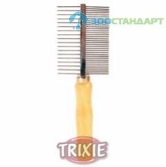 TRIXIE Расческа д/собак двусторонняя, деревянная ручка