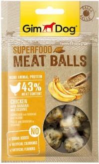 """GimDog дополнительный корм (лакомство) из курицы с бананом и кунжутом для собак - """"мясные шарики суперфуд"""""""