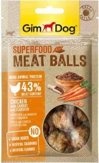 """GimDog дополнительный корм (лакомство) из курицы с морковью и семенами льна для собак - """"мясные шарики суперфуд"""""""