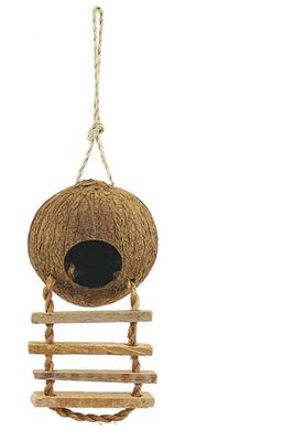 Триол Домик для птиц из кокоса с лестницей