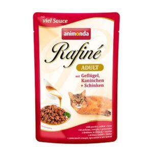 ANIMONDA RAFINE ADULT консервы для кошек коктейль из мяса домашней птицы, кролика и ветчины пауч