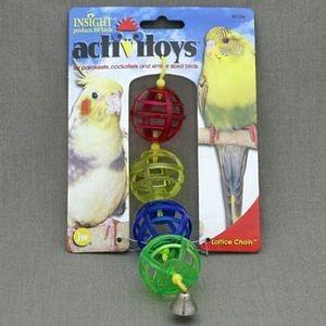 J.W. Игрушка д/птиц - Цепочка из решетчатых шариков с колокольчиком, пластик, Activitoys Lattice Chain