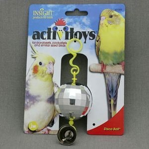 J.W. Игрушка д/птиц - Зеркальный шар с колокольчиком, пластик, Disco Ball Toy for birds