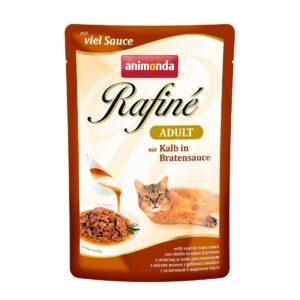 ANIMONDA RAFINE Adult  консервы для кошек с телятиной в жареном соусе пауч