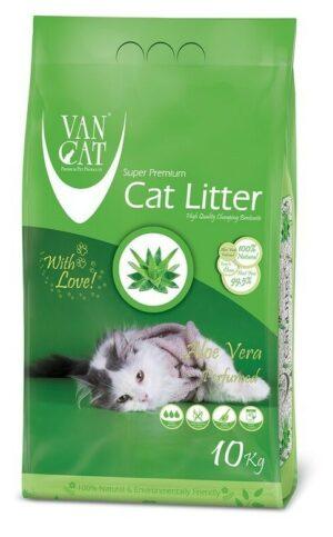 VAN CAT Aloe Vera комкующийся наполнитель для кошачьих туалетов без пыли с ароматом алоэ вера