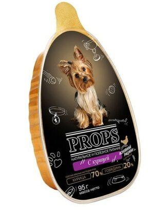 PROPS ламистер 95 г влажный стерилизованный мясной корм для собак с курицей 1х16