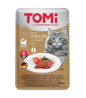 """""""TOMI"""" консервы для кошек-пауч c птицей в томатном желе  Германия"""