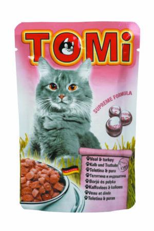 """""""TOMI"""" консервы для кошек-пауч телятина с индейкой"""
