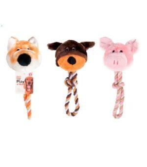 Karlie-Flamingo Игрушка д/собак Голова животного плюш +веревка, дизайн в асс-те