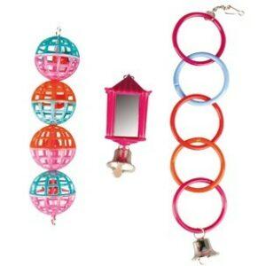 Flamingo  Игрушка  д/ попугая кольца-мячики-фонарь  (уп-6шт)
