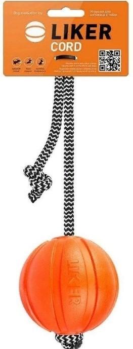 Liker Cord Мячик на канате для собак 9 см, оранжевый