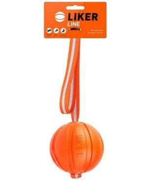 Liker Line Мячик на ленте для собак, 7 см, оранжевый