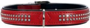 Hunter ошейник для собак Modern Deluxe  кожзам 2 ряда страз красный-черный