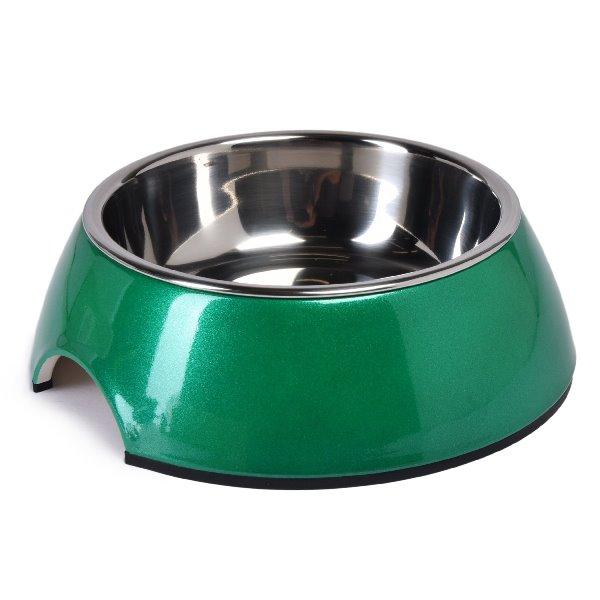SuperDesign миска на меламиновой подставке  зеленый перламутр