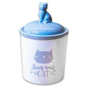 КерамикАрт бокс керамический для хранения корма Hug your cat  бело-серая