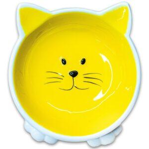 КерамикАрт миска керамическая для кошек Мордочка кошки на ножках желтая