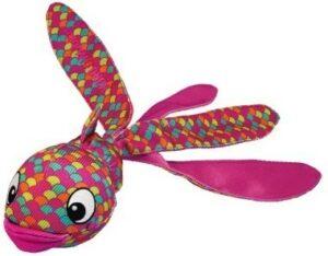 KONG игрушка для собак Wubba Finz Рыба S, с пищалкой, розовая