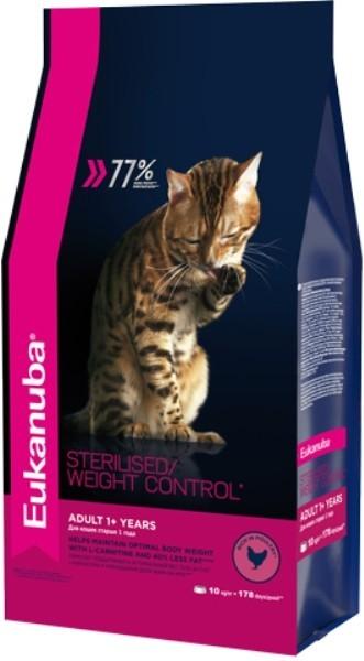EUK Cat корм для взрослых кошек с избыточным весом и стерилизованных 10 кг